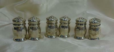 Set Of 6 Matching Sterling Silver Individual Miniature Salt Shakers