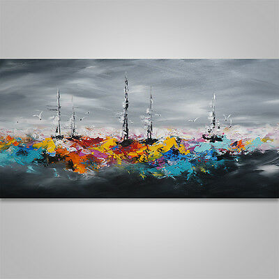 Large Abstract Painting Art Original Home Decor, Wall Art Seascape Boat #188