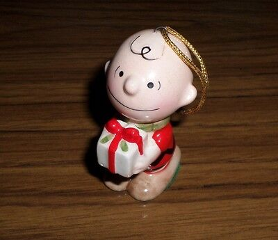 Peanuts Charlie Brown Vintage 1970's Porcelain Christmas Ornament with Present