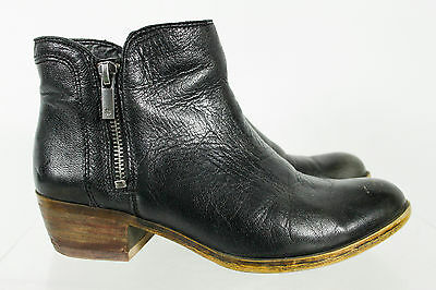 Lucky Brand Solid Black Round Toe Zipper Booties Shoes Size 6.5