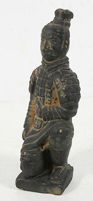 Vintage Chinese Hand Carved Terracotta Kneeling Statue