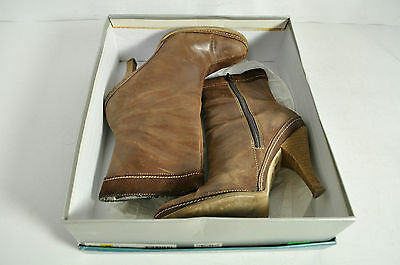 Nine West Brown Leather Pindari Ankle Boots Size 8 1/2 M