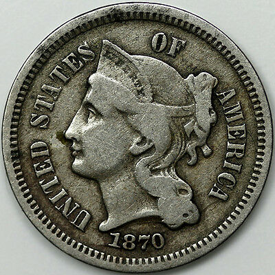 1870 Tree 3 Cents Nickel Coin