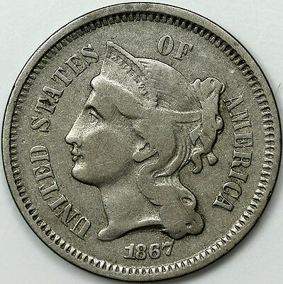 1867 Tree 3 Cents Nickel Coin