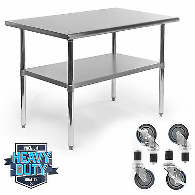 """Stainless Steel Commercial Kitchen Work Food Prep Table - 30"""" x 48"""""""