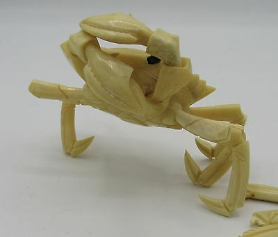 Vintage hand carved articulated crab model okimono Japanese/Chinese?