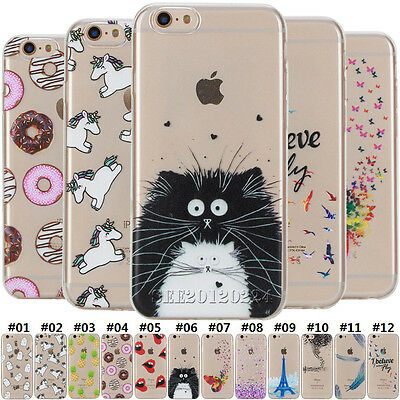 Patterned Rubber Slim Soft TPU Clear Case Cover For Apple iPhone 5S SE 6S 7 Plus