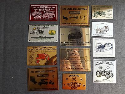 Lot of 12 Metal PA Engine Tractor Toy Show Badge Plaque Steam John Deere Furnace