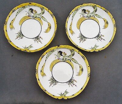 MELBA BONE CHINA DOLLY VARDEN 3 TEA SAUCERS 1930s ART DECO NO CUPS