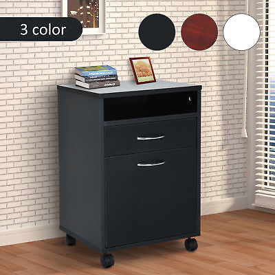Rolling Filing Cabinet Storage W/ Drawer & Shelf Home Office Furniture