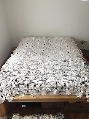 French Vintage Antique Crochet Old Lace Bedspread Boho Shabby Chic