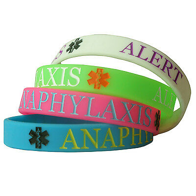 ANAPHYLAXIS ALERT MEDICAL  wristband silicone bracelet CHILD SIZE AWARENESS