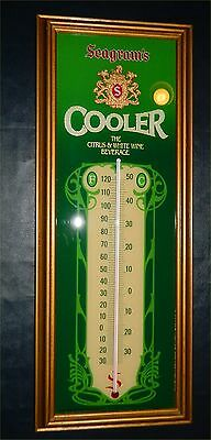 Vintage SEAGRAMS Wine Co. Cooler Thermometer Bar Man Cave Advertising Sign GLass