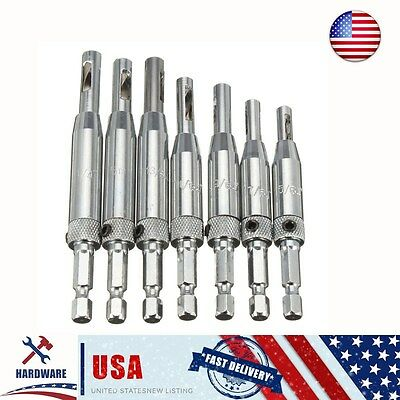7PCS Self Centering Door Lock Cabinet Hinge Drill Bits Set Pilot Hole Saw Tool