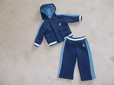 Baby Boys Kangol 2 Tone Blue Jog Suit / Outfit Sized At 6 - 12 Months