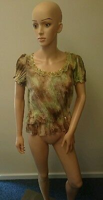 SO-U Green and Brown Thin Top (UK Ladies Size 10)