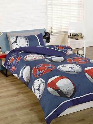Football Blue Single Duvet Cover Bedding Set Boys Children'S Sports