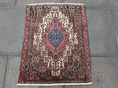 Old Traditional Persian Rug Oriental Hand Made Wool Faded Red Small Rug 90x70cm