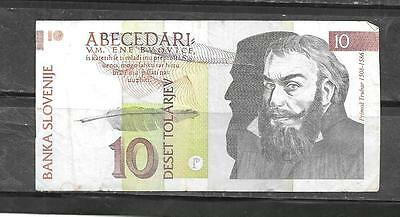 SLOVENIA #11a 1992 VG CIRC 10 TOLARJEV BANKNOTE PAPER MONEY CURRENCY BILL NOTE