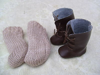 Alte Puppenkleidung Schuhe Vintage Brown Boots Shoes Socks 40 cm Doll 5 cm