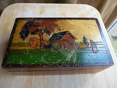 Treen Russian Hand carved and coloured box