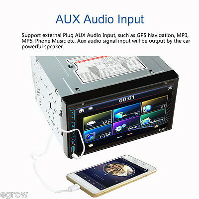 """6.95"""" Touch Car Stereo Media DVD Player Autoradio Bluetooth MP3 FM DVD AUX-IN"""