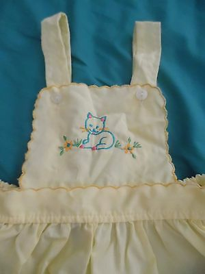 Romper Sunsuit Embroidered Kitty 3- 6 Months 1950-1960 s Nice VINTAGE