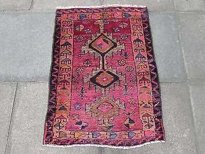Old Traditional Persian Rug Oriental Hand Made Wool Red Pink Small Rug 100x75cm