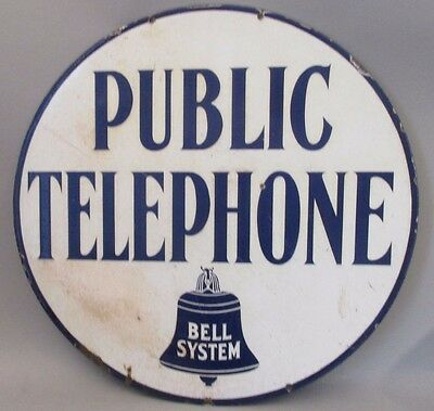 Rare Early BELL TELEPHONE Porcelain Sign PUBLIC TELEPHONES BELL SYSTEMS 2 SIDED