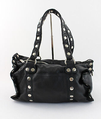 Hammitt Black Leather Silver Tone Stud Handbag Shoulder Bag