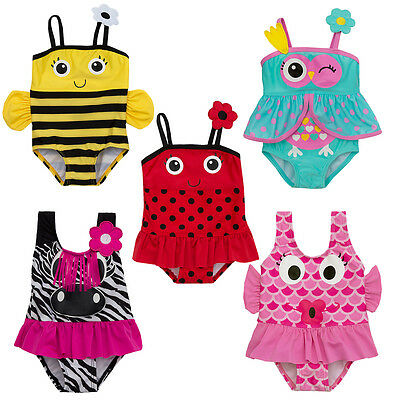Babies / Childs Girls Novelty One Piece Swimming Costume ~ 3 Months to 6 Years