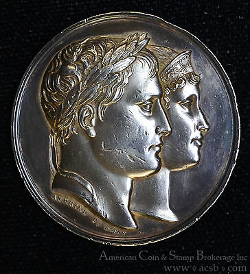 France 1811 silver Birth King of Rome Napoleon & Marie Louise Andrieu Medal