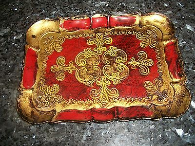 """VINTAGE Florentine Italy Red & Gold Tray - 10"""" x 7 1/2"""""""