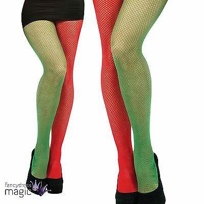Green Red Fishnet Tights Santa Jester Fancy Dress Christmas Elf Helper Accessory