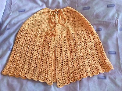Vintage Hand Crocheted Peach Baby Christening Shawl Unworn