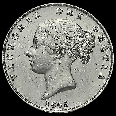 1845 Queen Victoria Young Head Silver Half Crown, GVF #2