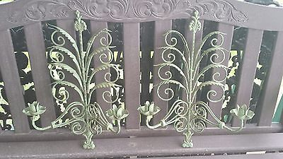 Pair Vintage Large Wrought Iron Wall Sconce Candle Holders Garden Green Finish