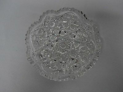 "Antique American Brilliant Abp 6"" Intricate Cut Crystal Hobstar Bowl Dish"