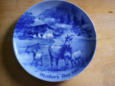 Limited Edition Muttertag 1980 Goat Goats Mother's Day 1980 Blue Plate W Germany