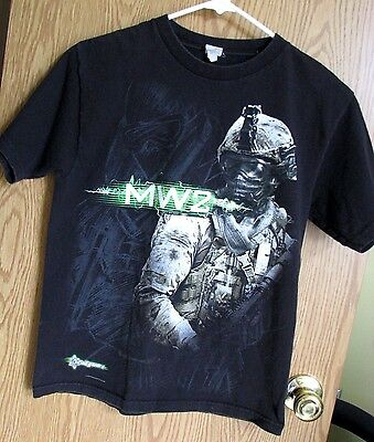 MW 2 Black short sleeve graphic t-shirt-youth size medium-Made in USA-2010