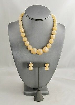 50s VINTAGE Jewelry JAPAN PEACH MOONSTONE PLASTIC BEAD NECKLACE EARRINGS SET