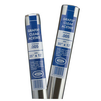Grafix Gxr05Cl5012  Clear Acetate .005 Roll 50 Inch X 12 Feet