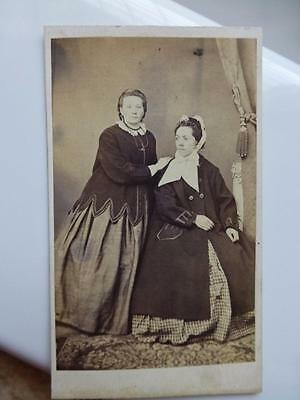 Antique CDV Cab Photo c1860s Ladies in Crinoline Civil War Era Fashion Coats