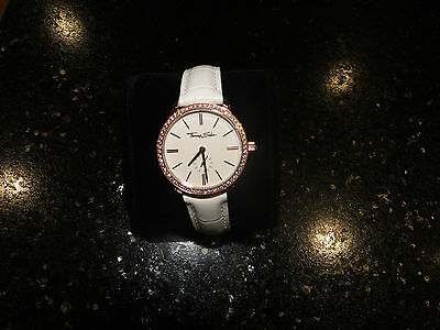 Thomas Sabo Watch - ladies / womens white leather & Rose Gold face with dimonds