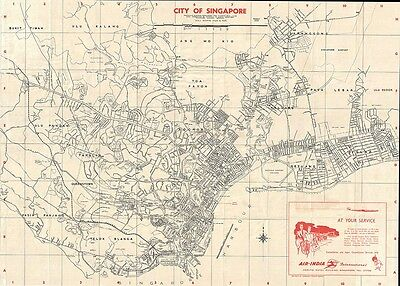 1957 Air India Map Of Singapore
