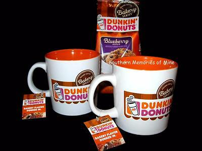 """Set of TWO Bakery Series """"DUNKIN DONUTS"""" Ceramic *2* Coffee Mugs 12oz Cups TAGS"""