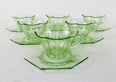 Set of 6 Hexagon Tea Cups & Octagon Saucers, Fancy Green Depression Glass, 1930s
