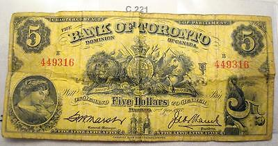 1937 Bank Of Toronto, Chartered By, Dominion Of Canada $5 Five Dollar Note #c221