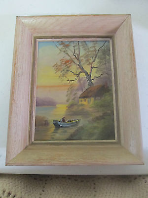 Oil Painting by Carl Roth 11x9 in the frame with trees, house, water, and boat