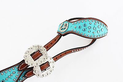Turquoise Ostrich Bling Leather Western Silver Show One Ear Bridle Headstall